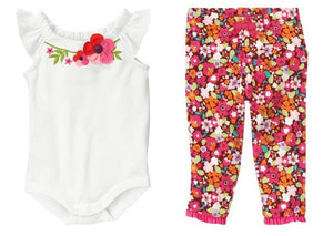 Baby Clothes | Gymboree Baby Girl Blossom Bodysuit and Floral Legging Pant Set 0-3 Months