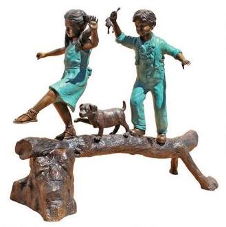 Garden Statue | Boy and Girl on Log
