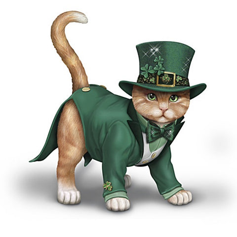 Feline Lucky Irish Figurine