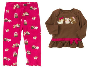 Baby Clothes | Gymboree Baby Girl 2 Piece Doggie Shirt and Leggings Pants 12-18 Months