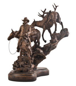 Wildlife Sculpture | The Crossing Cowboy and Horses Figurine Sculpture