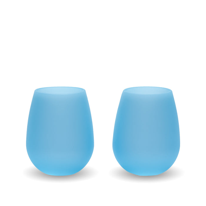 Bendi Blue Silicone Wine Glasses - Set of 2