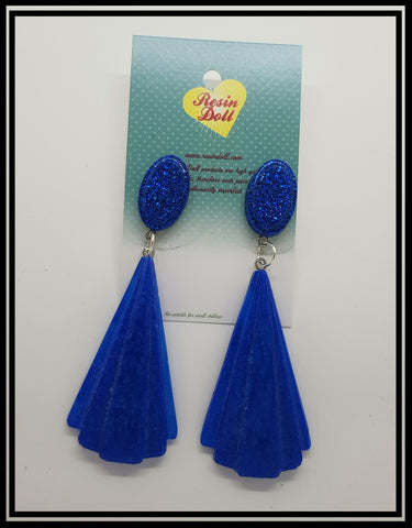 Blue Lrg Deco drop earrings