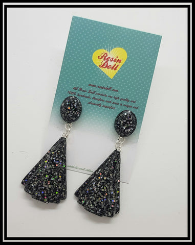 Black and silver sml deco drop earrings