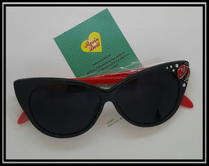 Black frame red arms lady bug sunglasses