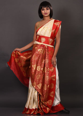 Red and White Blended Silk Saree