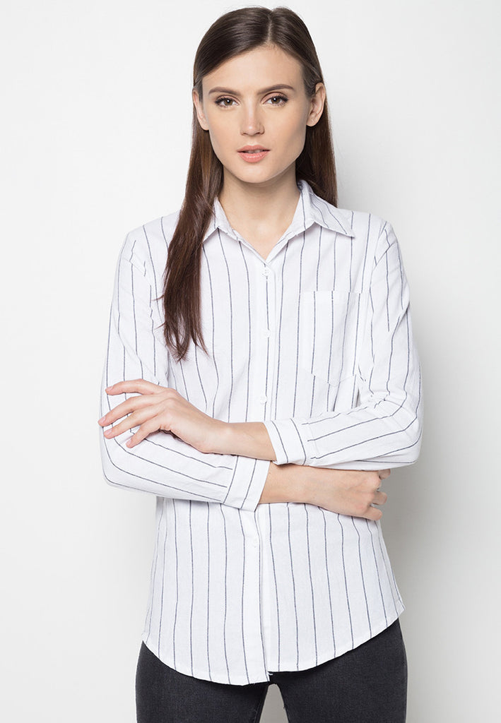 Striped Button Down Shirt - Caoros - 1