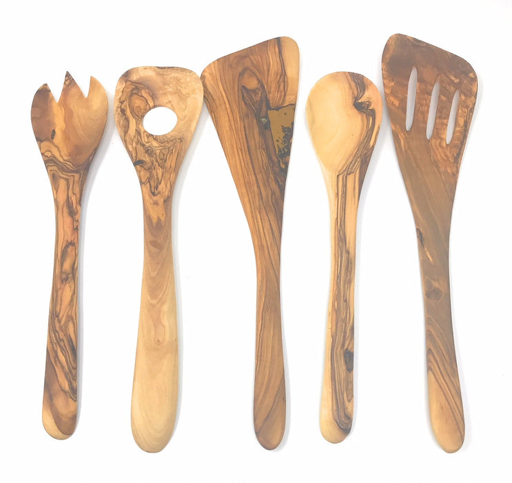 AramediA Wooden Cooking Utensil Olive Wood 5 Piece Set of Spatulas - Spoon, Fork, and Stirrers - Handmade and Hand Carved By Bethlehem Artisans near the birthplace of Jesus - Approximately 12 inches
