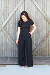 Black Back Button Jumpsuit