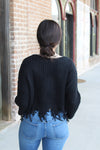 Black Frayed Button Sweater