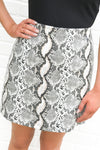 Taupe Grey Faux Snake Skirt
