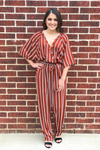 Striped Jumpsuit - Rust