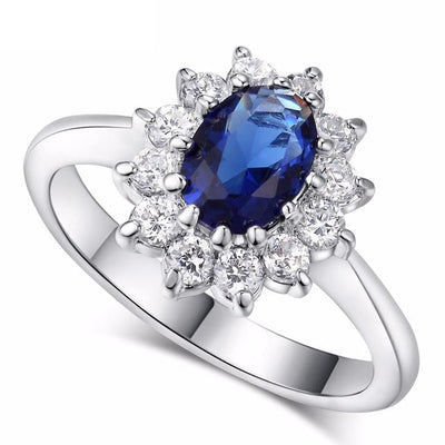 D4JG2XRY 18K White Gold Plated Blue Sapphire Ring