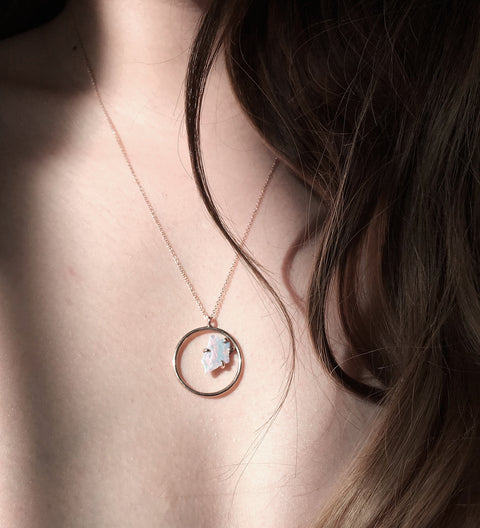 Opal Slice Circle Necklace / Rose Gold