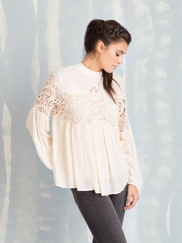 Blouses White With Lace Details Deby Debo DEBY DEBO- Here Now