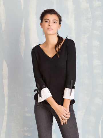 Knit Black with Pleated Sleeves Fracomina Fracomina- Here Now