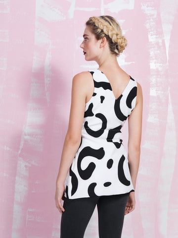 LAVISH ALICE SALE Monochrome Abstract Print Tie Front Cami Top LAVISH ALICE- Here Now
