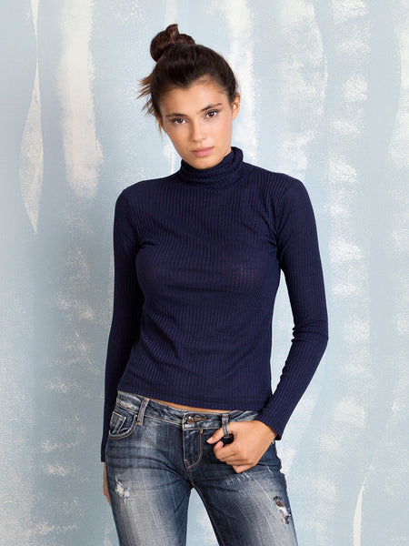 Ribbed Turtleneck Bordeaux Blue Green COQUELICOT- Here Now