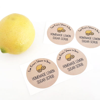 Bridal Shower Labels Lemon Sugar Scrub Stickers | Once Upon Supplies