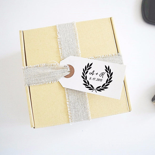 Laurel Wreath Wedding Stamp with Initials and Date