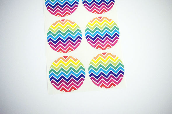 Rainbow Chevron Stripes Round Labels - Once Upon Supplies - 3
