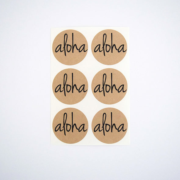 Aloha Kraft Round Stickers - Once Upon Supplies - 3