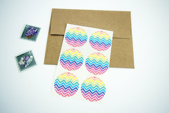 Rainbow Chevron Stripes Round Labels - Once Upon Supplies - 4