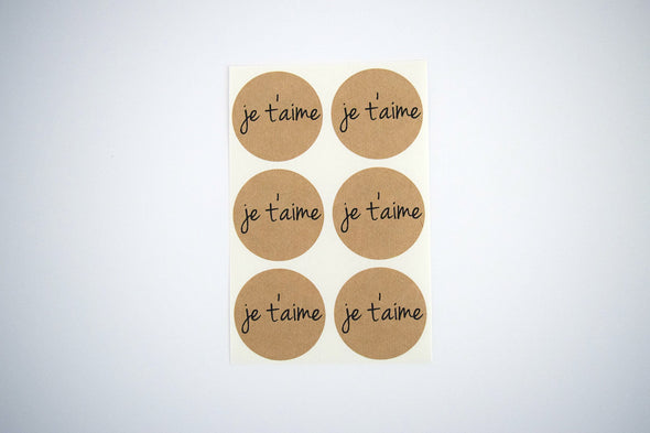 Je T'aime Kraft Round Stickers - Once Upon Supplies - 2