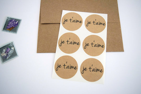 Je T'aime Kraft Round Stickers - Once Upon Supplies - 3