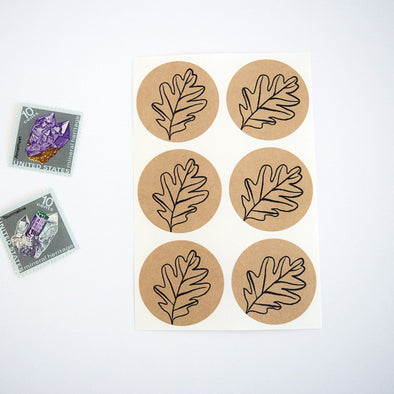 Autumn Leaf Stickers Kraft Brown Stickers - Once Upon Supplies - 1