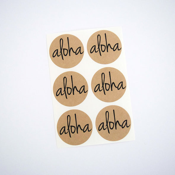 Aloha Kraft Round Stickers - Once Upon Supplies - 4
