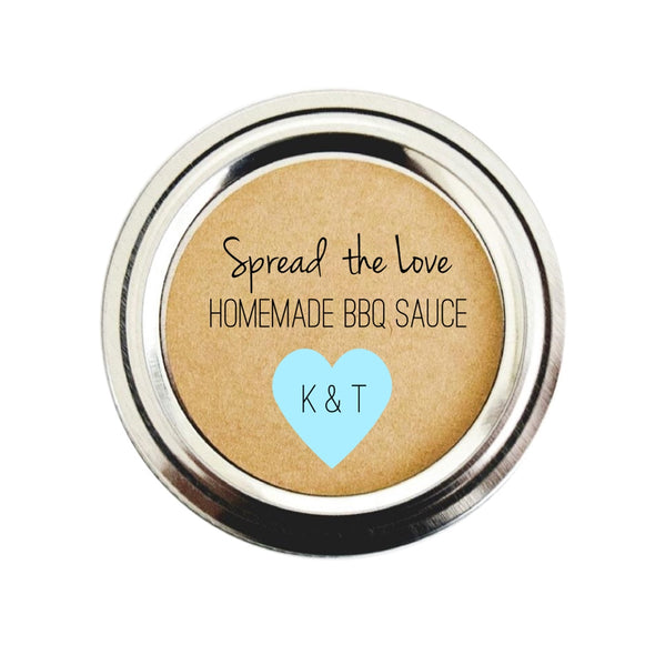 Spread the Love BBQ Sauce Labels for Wedding Favors, Pale Blue | Once Upon Supplies
