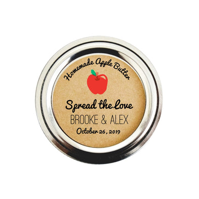Apple Butter Stickers for Wedding Favors | Custom Apple Butter Labels