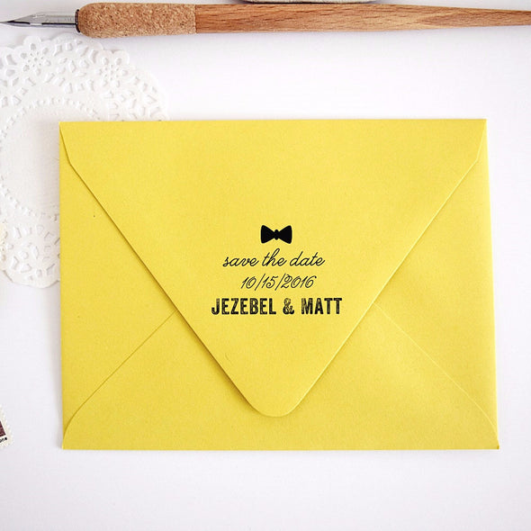 Custom Stamp - Bowtie Save the Date Stamp