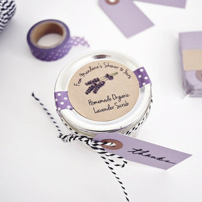 lavender sugar scrub bridal shower favor labels stickers for mason jars