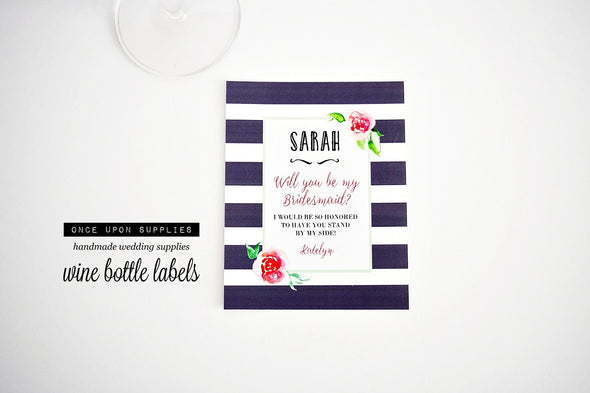 bridesmaid wine labels pink gray watercolor flowers