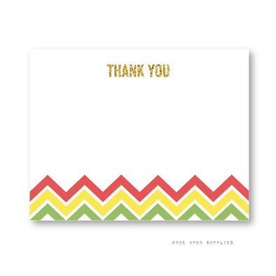 Fiesta Chevron Stripes Thank You Cards