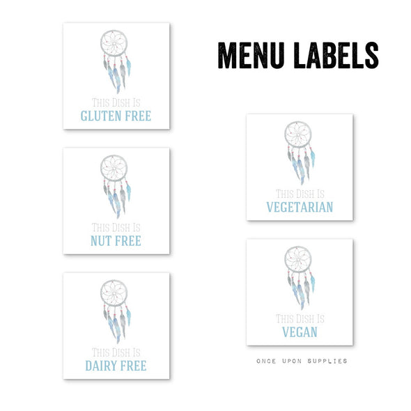 Dreamcatcher and Feathers Birthday Party Food Allergy Labels