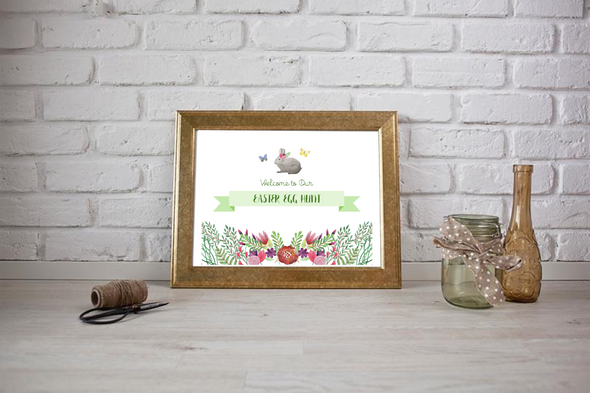 Easter Party Supplies Digital Printable Paper Pack - Party Welcome Sign