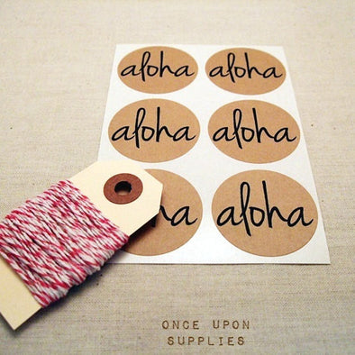 Aloha Kraft Round Stickers - Once Upon Supplies - 1