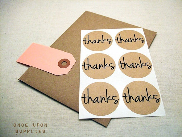 Thanks Round Stickers | One Upon Supplies
