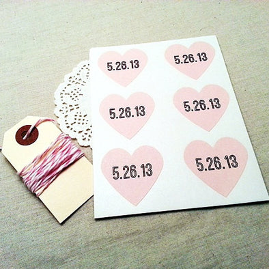 Custom Wedding Date Pink Heart Stickers - Once Upon Supplies - 1