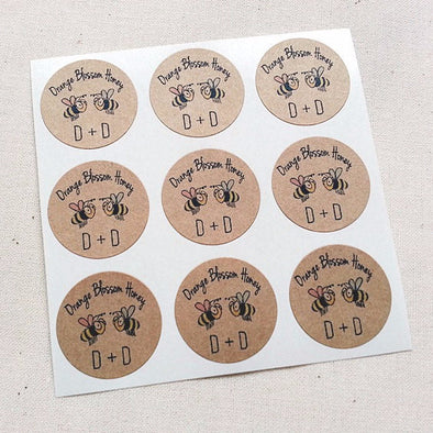 Mini Honey Wedding Favor Stickers - Once Upon Supplies