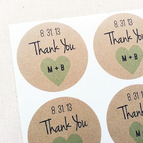 Thank You Stickers with Initials and Wedding Date - Once Upon Supplies