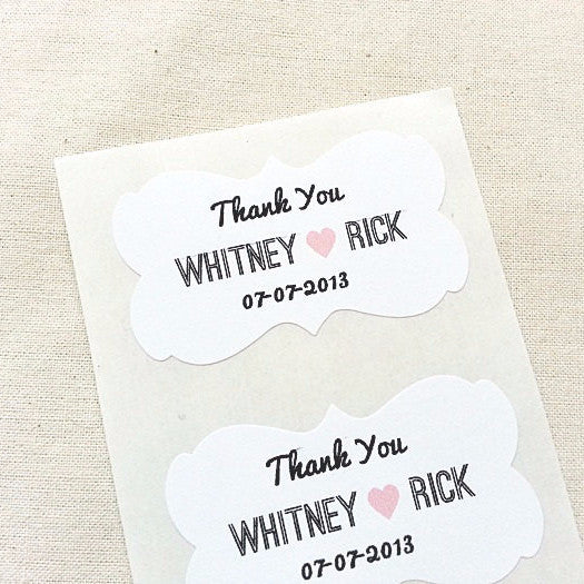 Wedding Favor Labels with Decorative Border White Sticker Paper | Once Upon Supplies