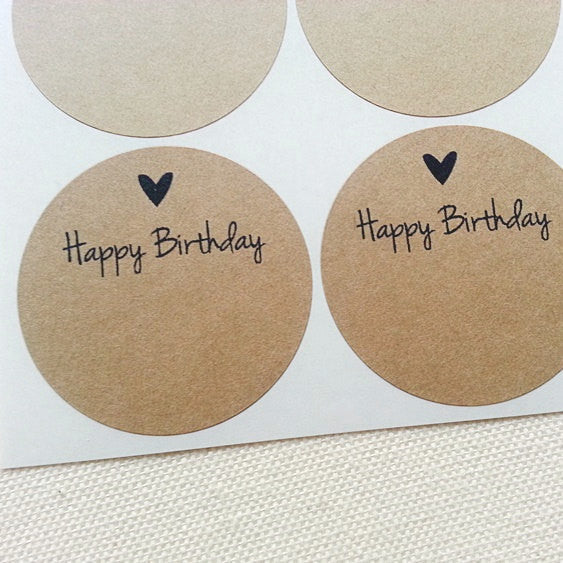 Happy Birthday Labels. Rustic Kraft Round Labels - Once Upon Supplies