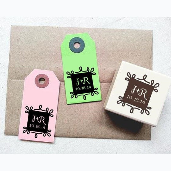 Vintage Ornate Frame Personalized Wedding Rubber Stamp - Once Upon Supplies
