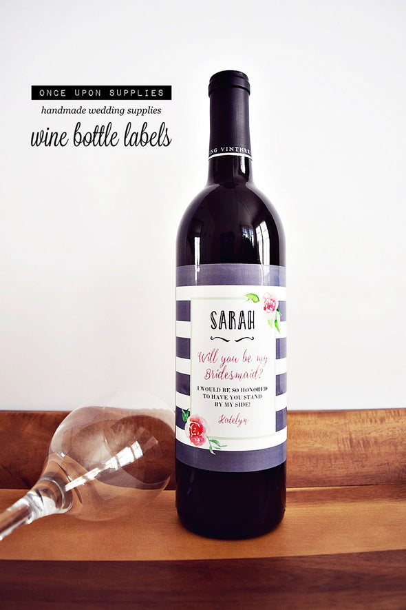 personalized bridesmaid wine labels pink gray stripes