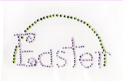 Easter Iron on Hot Fix Transfer Rhinestone -- Green and Lt Pink