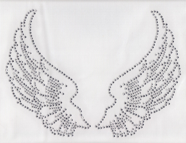 @Fedol Large Angel Wings Iron On Hot Fix Rhinestone Transfer